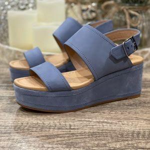 Corso Como Fairen Platform Blue Suede Wedge Sandal